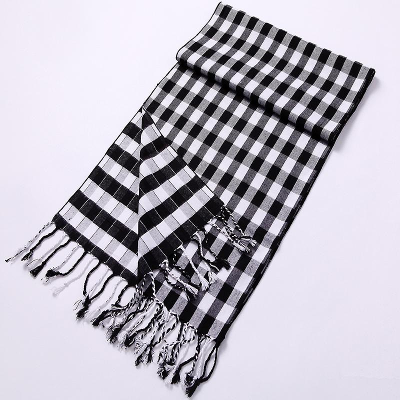 Acrylic Feel Black & White Colored Unisex Winter Scarf With Fringe